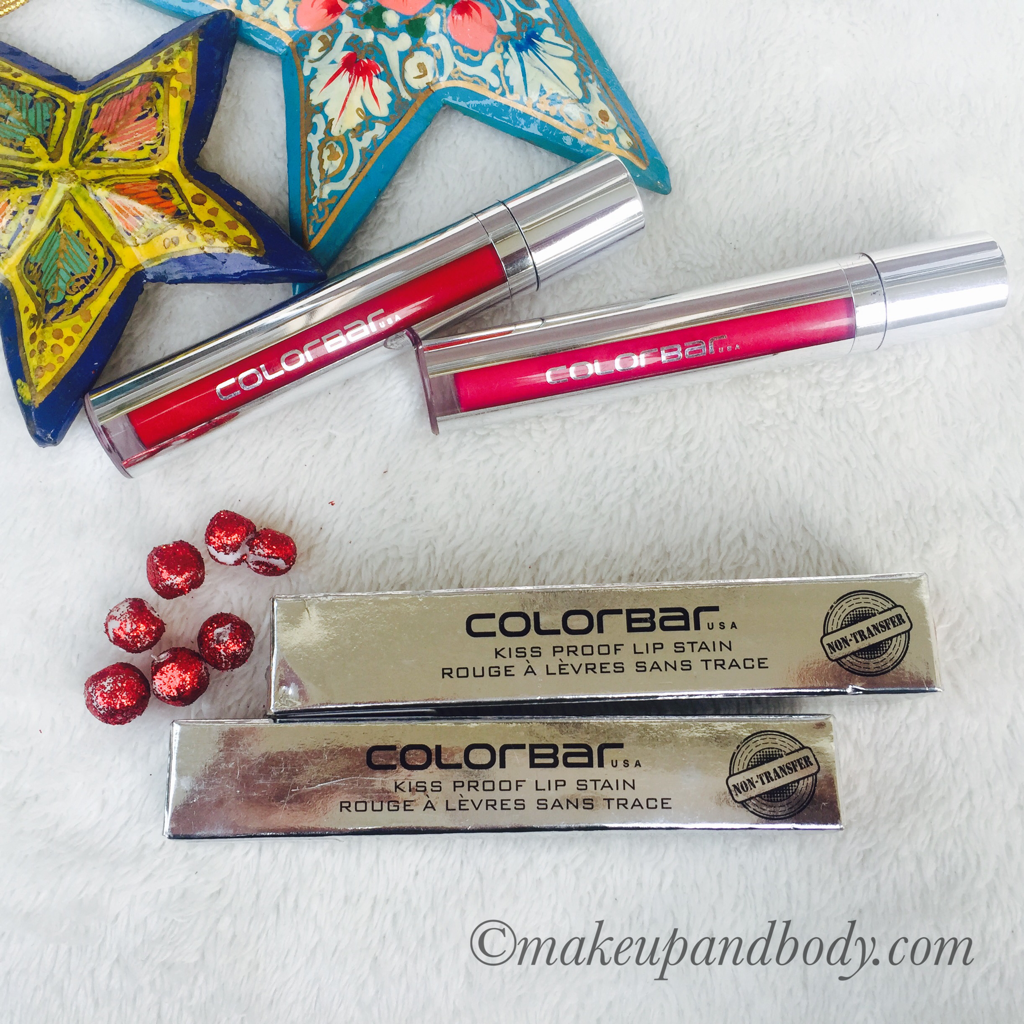 Colorbar 001 Hollywood and 004 Blush Crush Kiss Proof Lip Stain