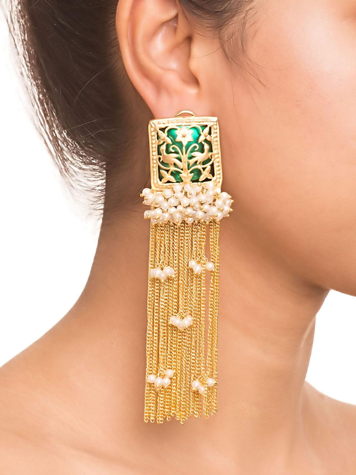 green-stone-and-pearl-tassel-earrings_danglers_green_150779335462-53a3e6f0868cc6e860c059c7bb3a8c6f